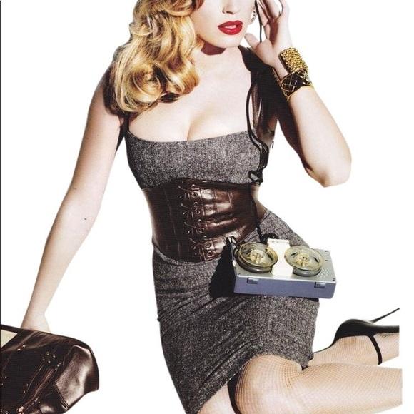 bebe Dresses & Skirts - BeBe leather corset brown tweed herringbone dress